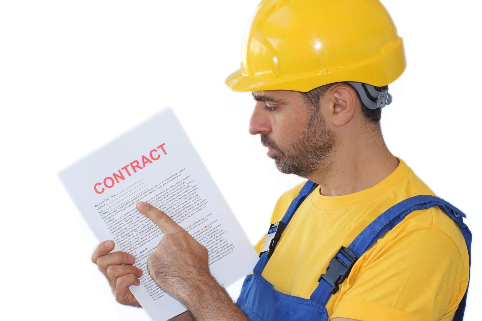 construction worker and contract image - liability insurance