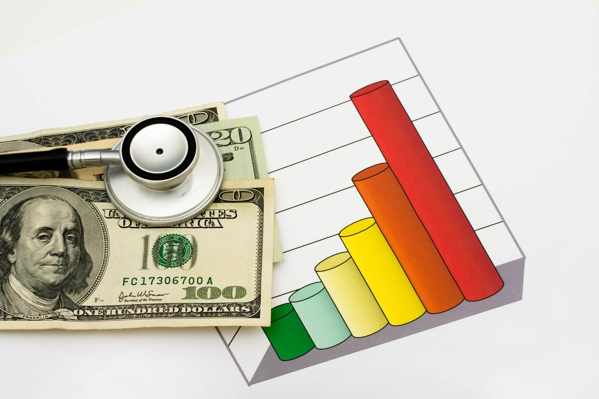 Image of stethoscope, money, and graph